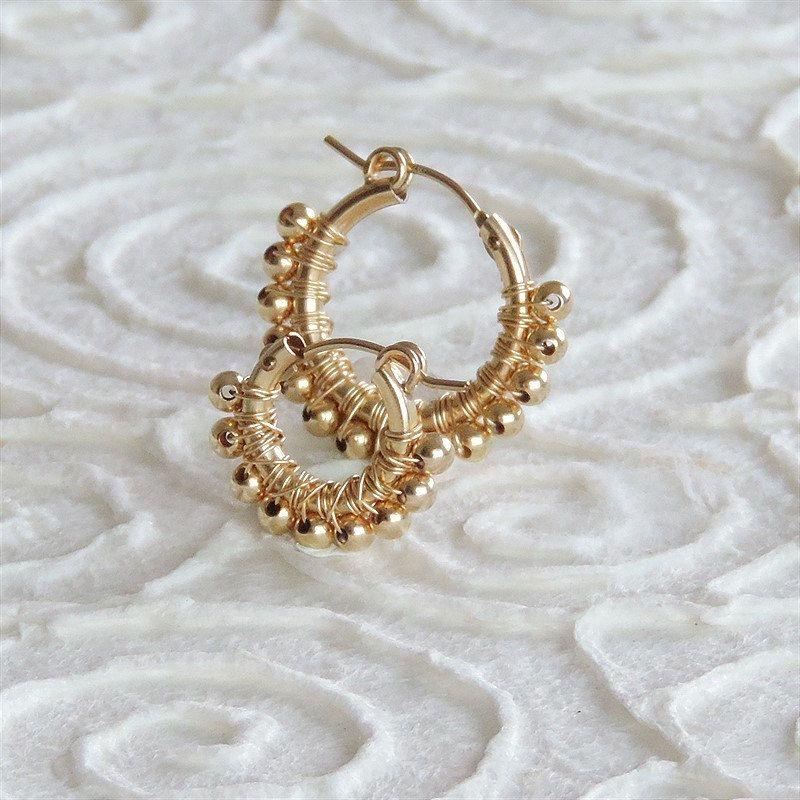 Gold hoop earrings, Womens Jewelry, wire wrapped hoop earrings ...
