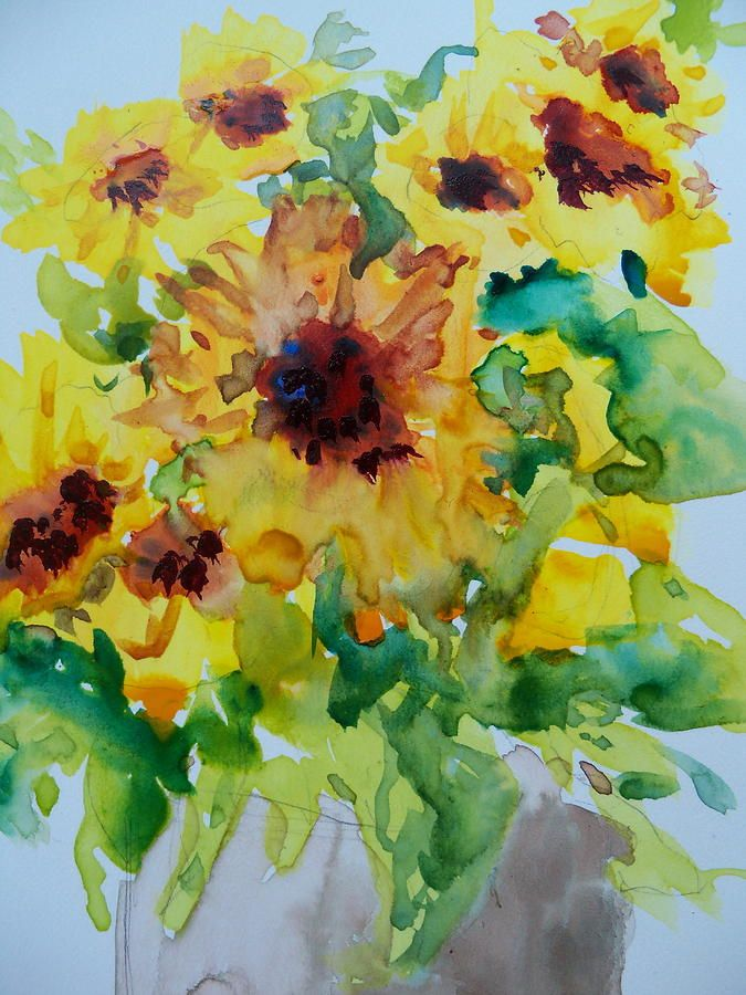Sunshine Bright By Sandy Collier Watercolor Flowers Painting