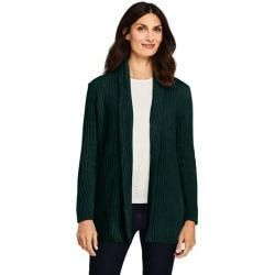 Photo of Open Petite Size Chenille Stripe Cardigan – Green – M from Lands 'End Lands' End