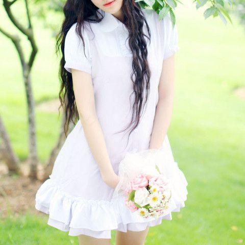 Japanese Kawaii Buttons Lace Chiffon Short-Sleelve Dress