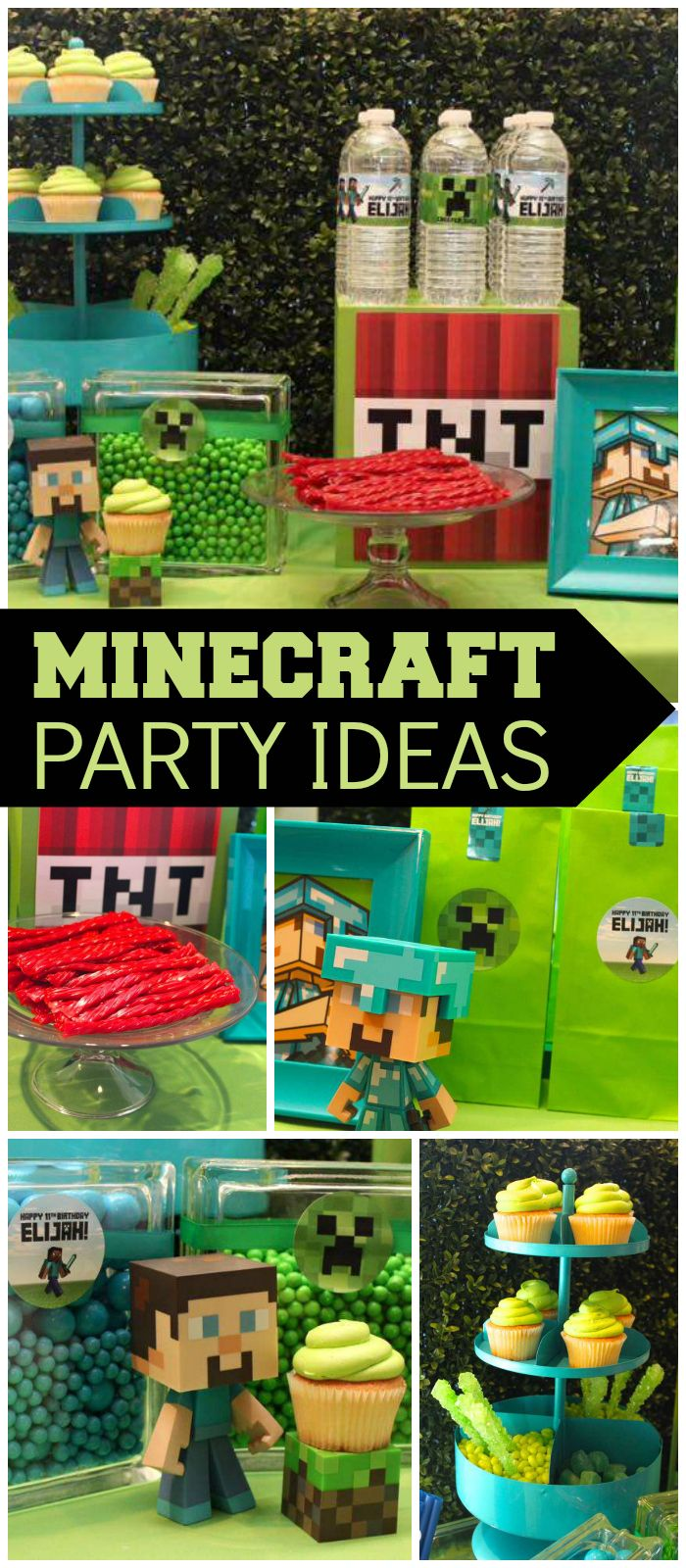 What a fantastic Minecraft birthday party! See more party ideas at CatchMyParty.com!