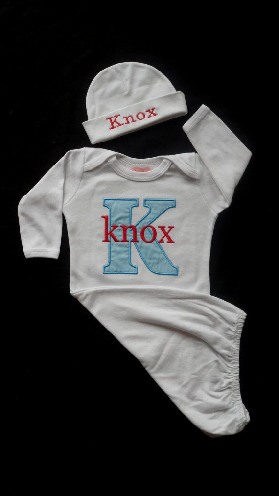 d6f436543 Personalized Layette Gow and Personalized Beanie Hat by LilMamas ...