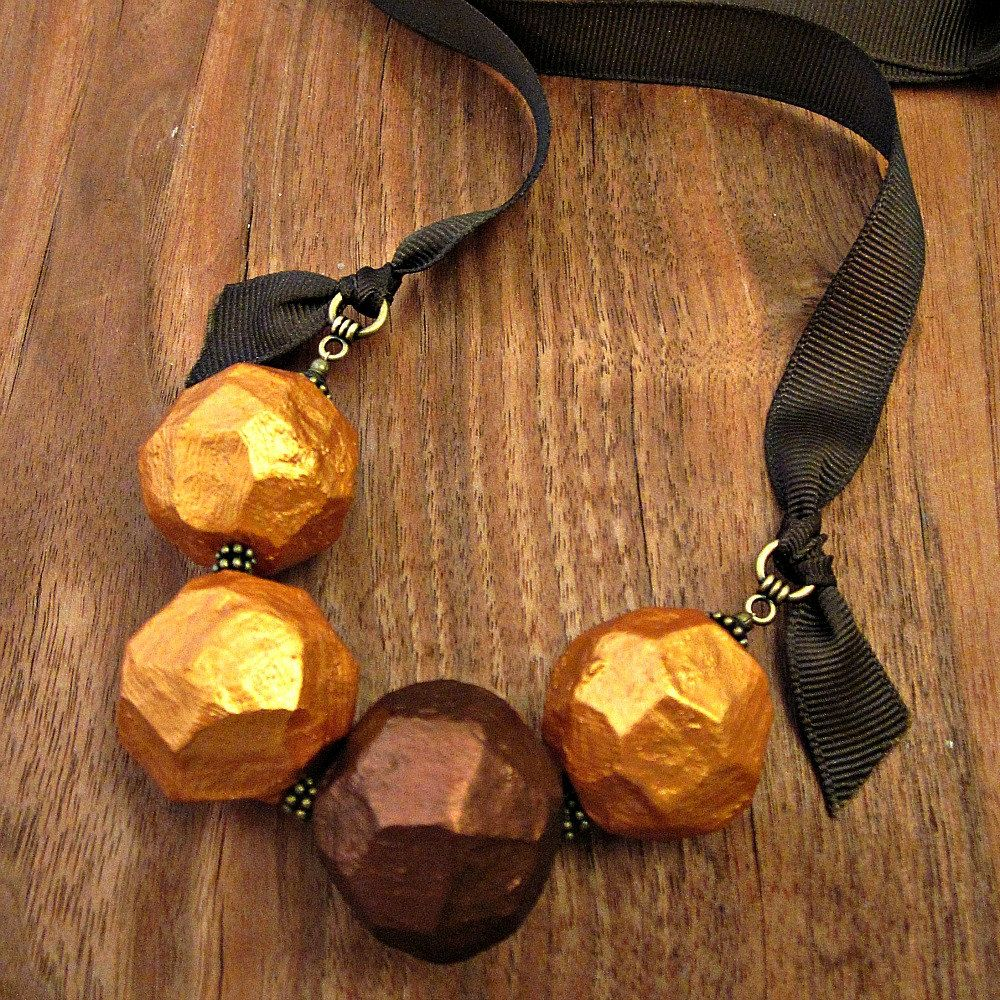 Paper Mache Necklace Chunky Beaded Gold And Copper Ribbon Tie Faceted Paper Mache Bead Recycled Jewelry Paper Bead Jewelry Paper Jewelry Paper Beads Necklace