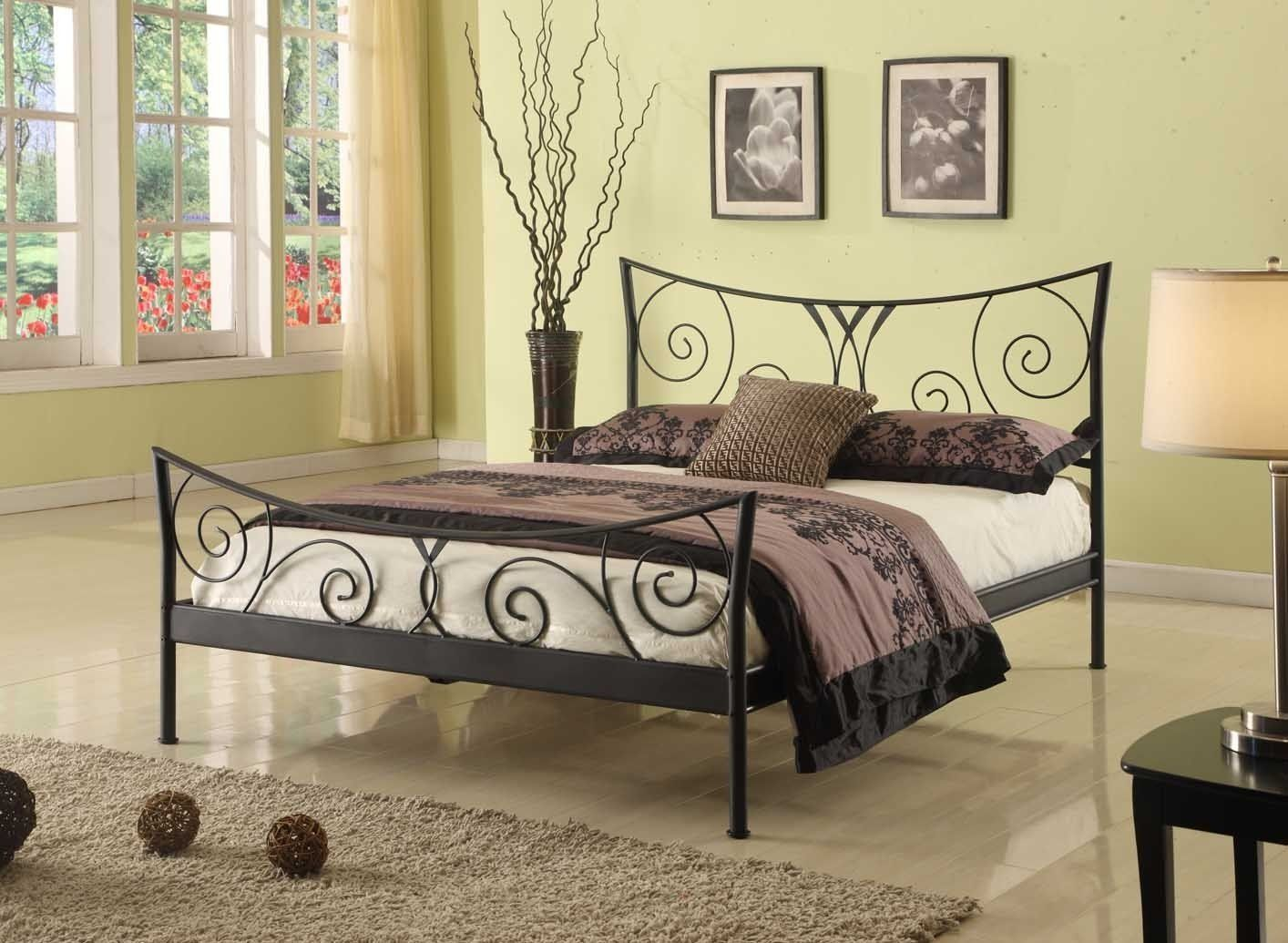 Amazon.com: Black Metal Queen Size Bed Headboard Footboard Rails ...