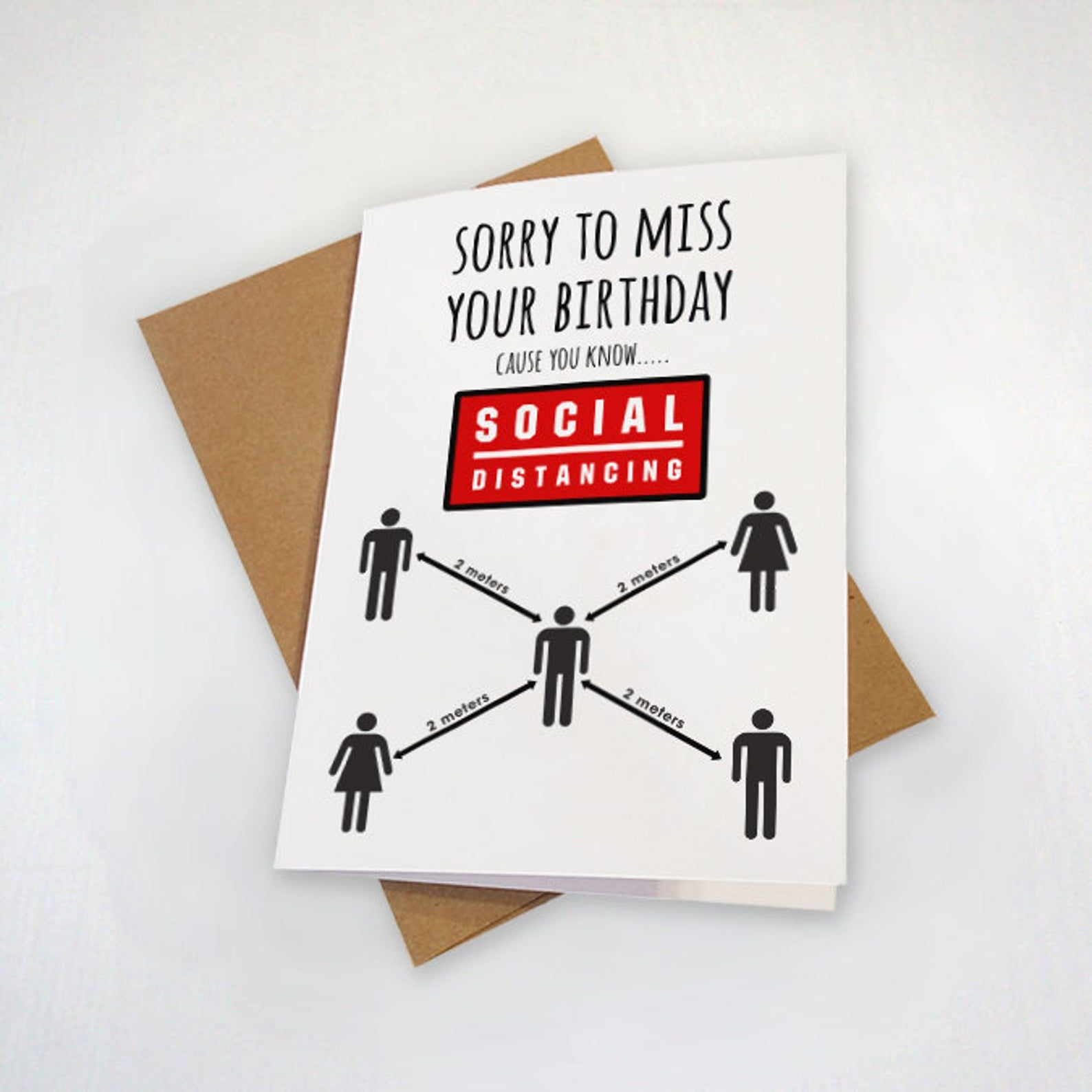 A social distancing birthday card funny belated birthday