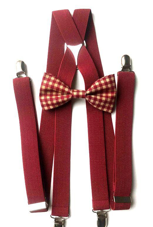 Bow Tie & Suspenders SET | Baflo Plaid Bow Tie | Wine Suspenders | Groomsmen | Ring Bearer | Bow Tie #teenkidfashionandbeauty