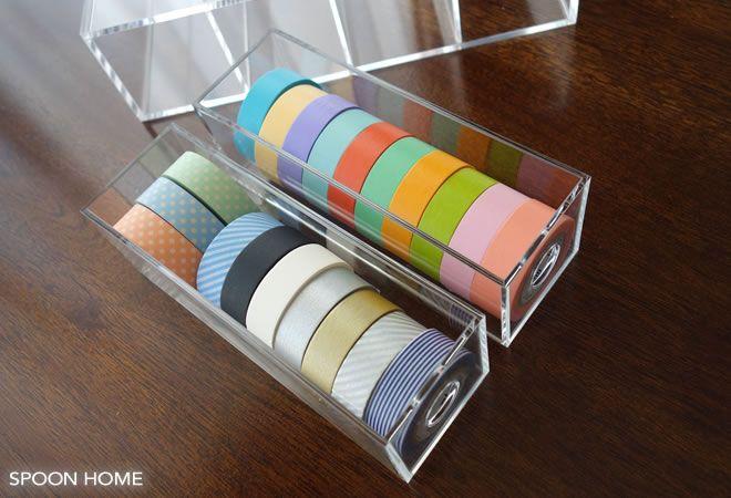 無印良品のアクリルメガネ・小物ケースのマスキングテープ収納ブログ画像