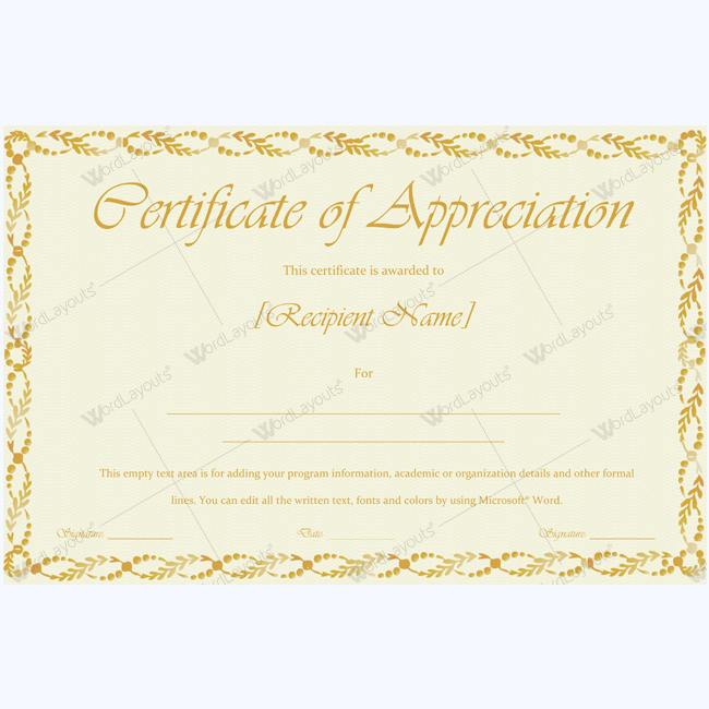 Appreciation Certificate Appreciation Certificateofappreciation