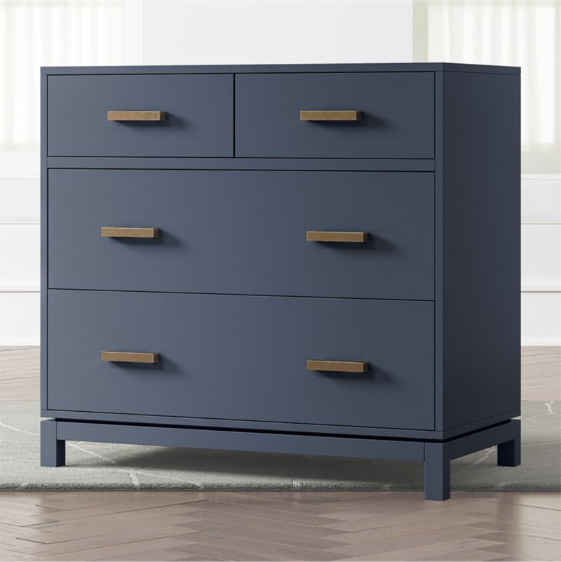 Kids Parke Navy Blue 4 Drawer Chest Reviews Crate And Barrel In 2020 Blue Nightstands Chest Of Drawers Drawers