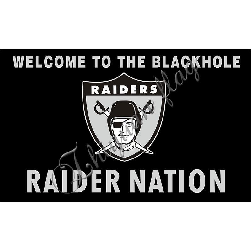 Las Vegas Raiders Los Angeles Raider Nation Team Banner Digital Print Custom Black Oakland Raiders Flag Raider Nation Raiders Flag Oakland Raiders