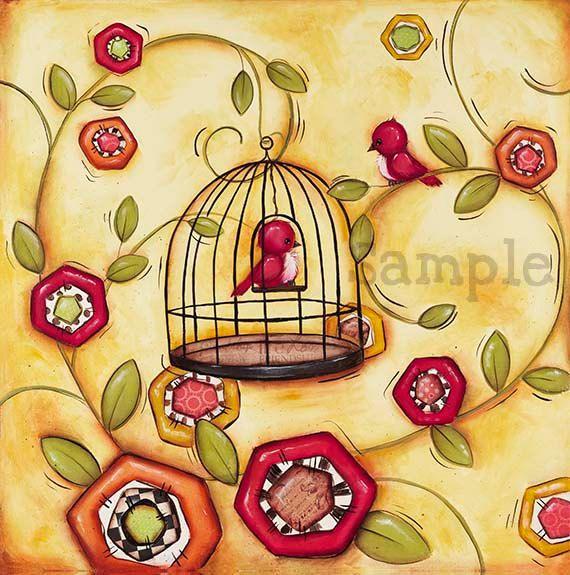 Bird Cage Wall Art ~ Childrens Wall Art ~ Bird Decor ~ Bird Cage ...