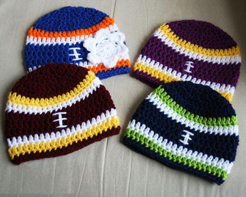 Crochet Football Beanie - Free Pattern (Beautiful Skills - Crochet ...