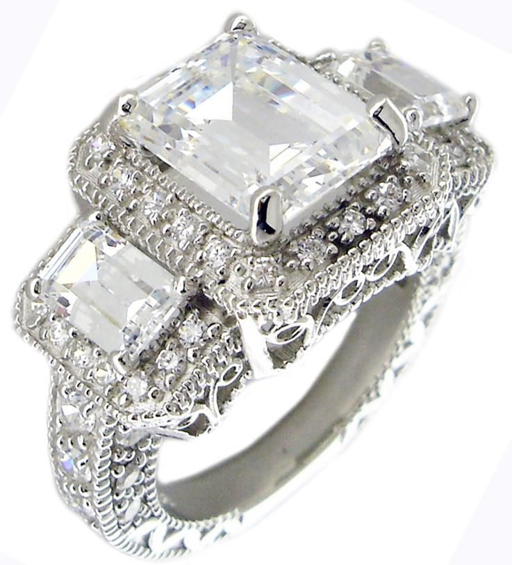 sterling silver cubic zirconia wedding set cz engagement ring home rings - Cz Wedding Rings