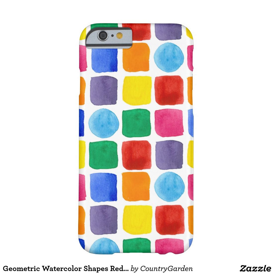 Geometric Watercolor Shapes Red Green Blue Orange Barely There iPhone 6 Case