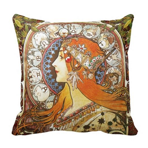 Alphonse Mucha La Plume Zodiac Art Nouveau Vintage Throw Pillow