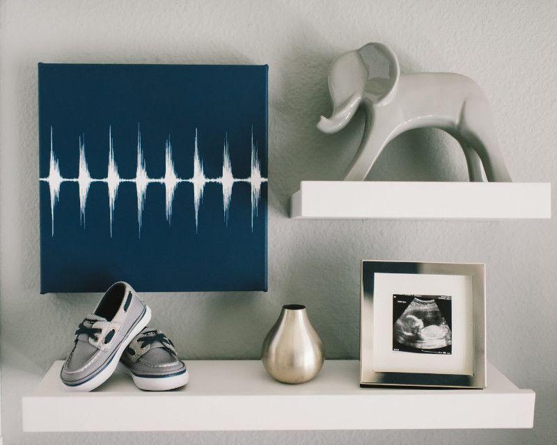 Baby Heartbeat Canvas Nursery Wall Art Modern Navy Grey Artsy