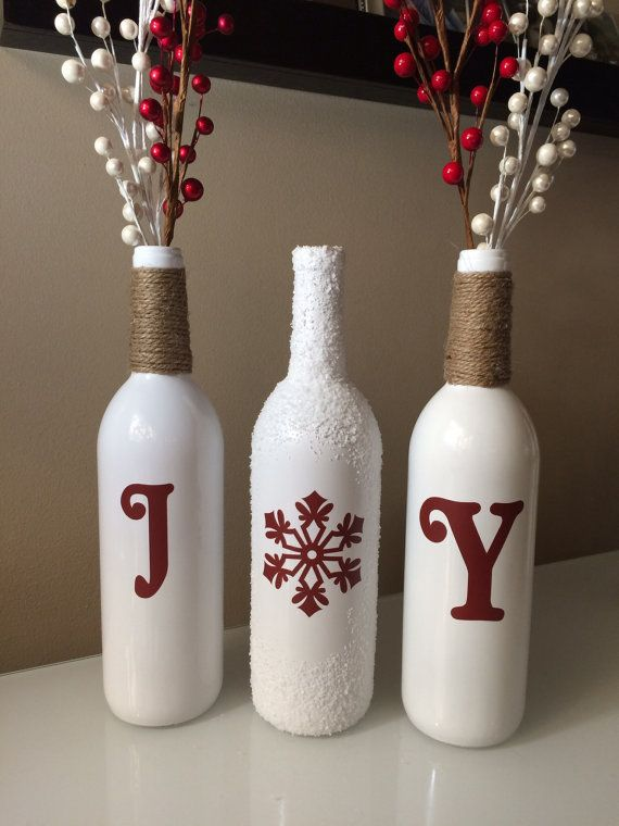 joy wine bottles christmas decorations snow wine bottles twine wrapped wine bottles - Christmas Wine Bottle Decorations