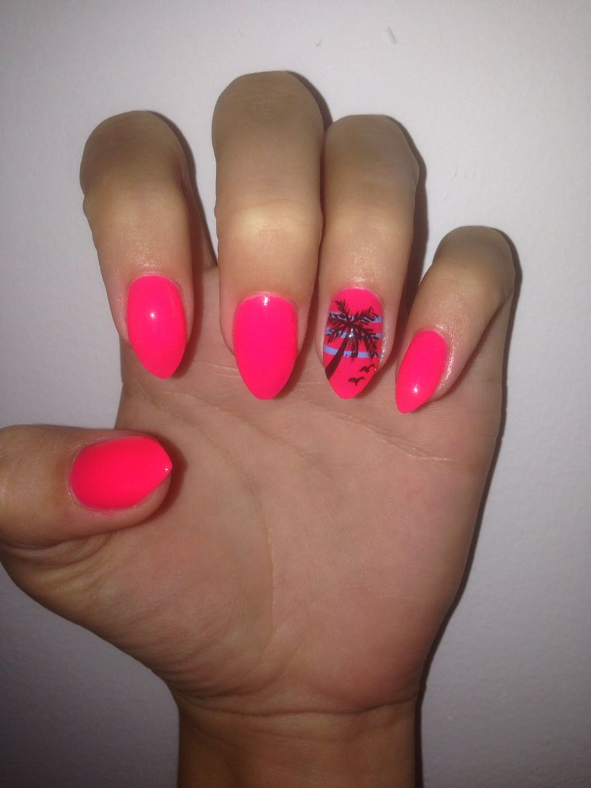 Hot Pink W Palm Tree Acrylic Nail Designs In 2018 Pinterest