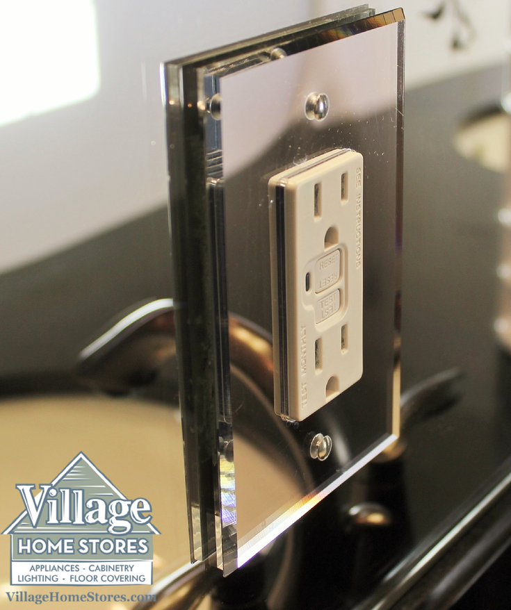 a beveled mirror outlet cover is a much better choice than a plastic or beveled mirrorglass