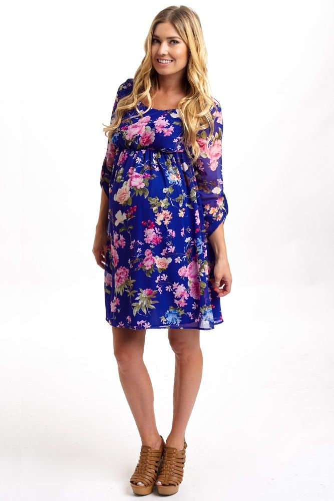 2fa2120d37bc5 With a breezy chiffon and vibrant floral, this ¾ sleeve maternity dress has  become a game changer. Royal-Blue-Floral-3/4-Sleeve-Chiffon-Maternity-Dress