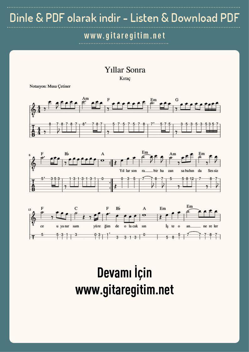 Yillar Sonra Gitar Nota Tab Gitaregitim Net Sarkilar Gi Tar