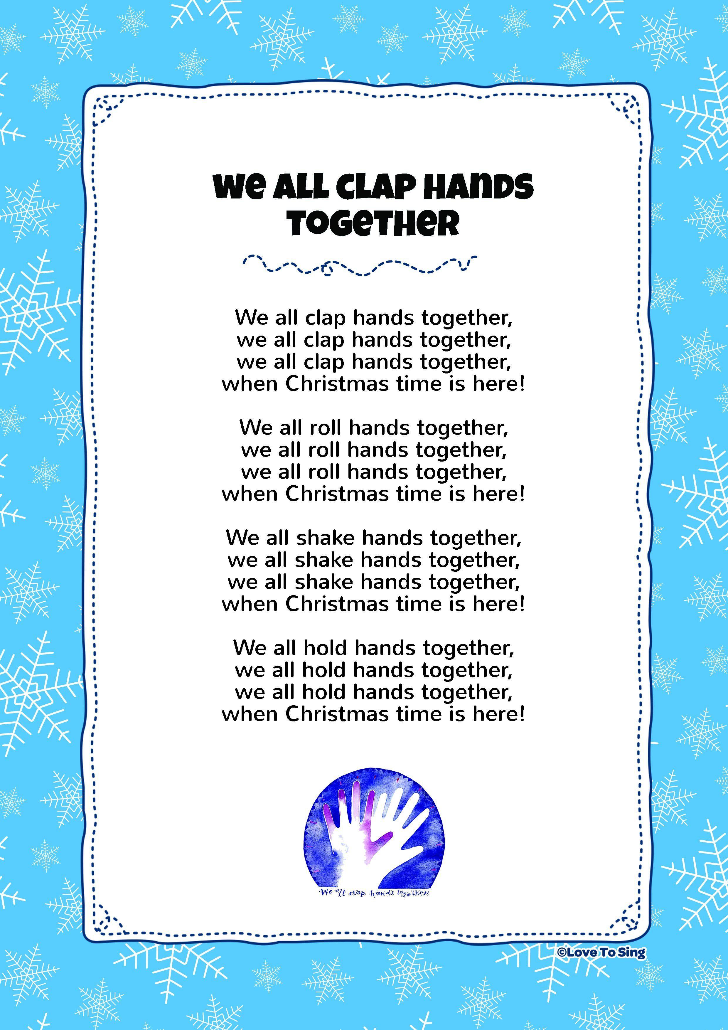 We All Clap Hands Together | Teacher stuff | Pinterest | Free lyrics ...