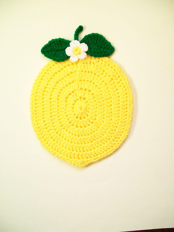 Crochet Potholder Lemon Fruit Pot Holder Yellow Hot Pad Trivet Table ...