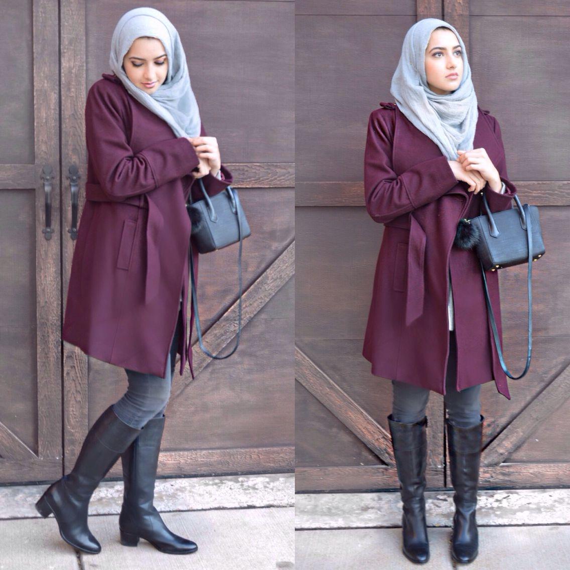 burgundy coat coats pinterest winter outfits hijab. Black Bedroom Furniture Sets. Home Design Ideas