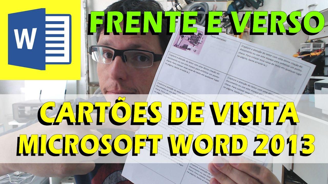 Como Imprimir Cartao De Visita Frente E Verso Com Word Microsoft