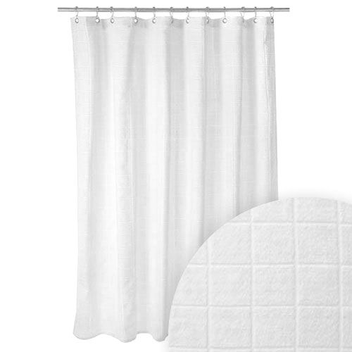 Harman White Terry Cloth Tile Shower Curtain