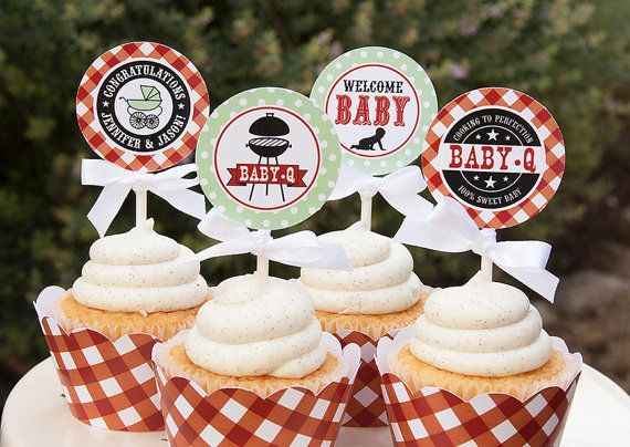 Baby Q Baby Shower Cupcake Toppers Couples Baby Shower Bbq