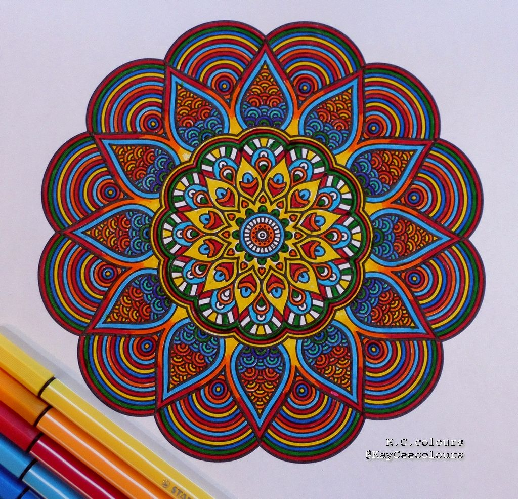 Magazine Megastar Coloriage Mandalas Mandala coloured by