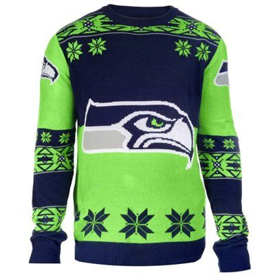 0eac4a0bf15 Seattle Seahawks Klew College Navy Big Logo Ugly Sweater - NFLShop.com