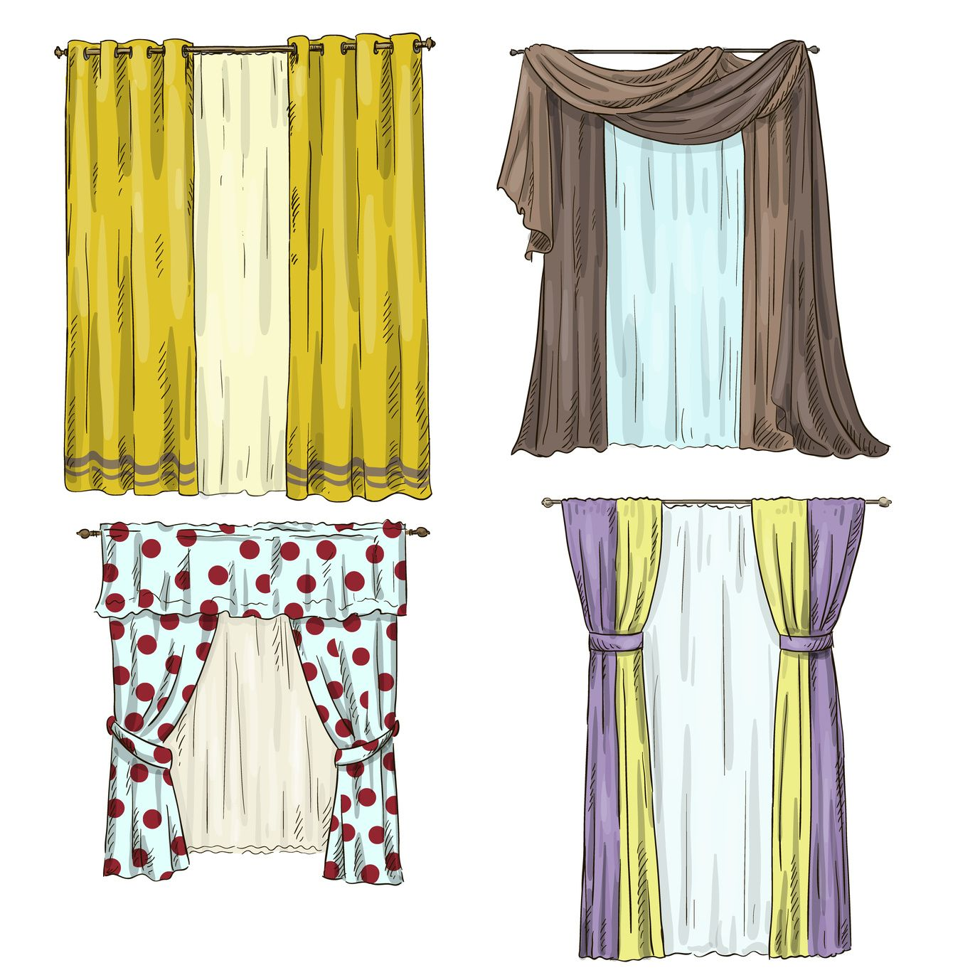 sheer casement curtain sketch - Google Search | DRAPERY ...