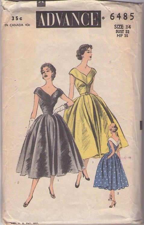 Advance 6485 Vintage 50\'s Sewing Pattern INCREDIBLE Rockabilly Era ...
