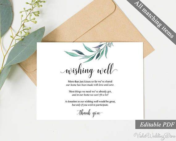 Eucalyptus Wishing Well Card Template Printable Wedding Greenery