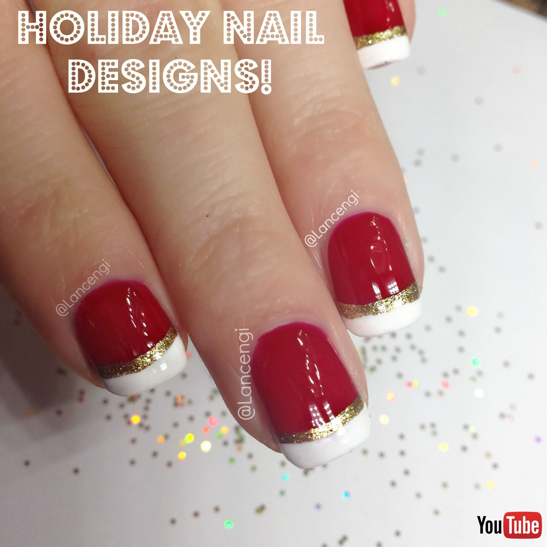 Easy holiday nail art french manicure with christmas twist red easy holiday nail art french manicure with christmas twist red gold white video prinsesfo Choice Image