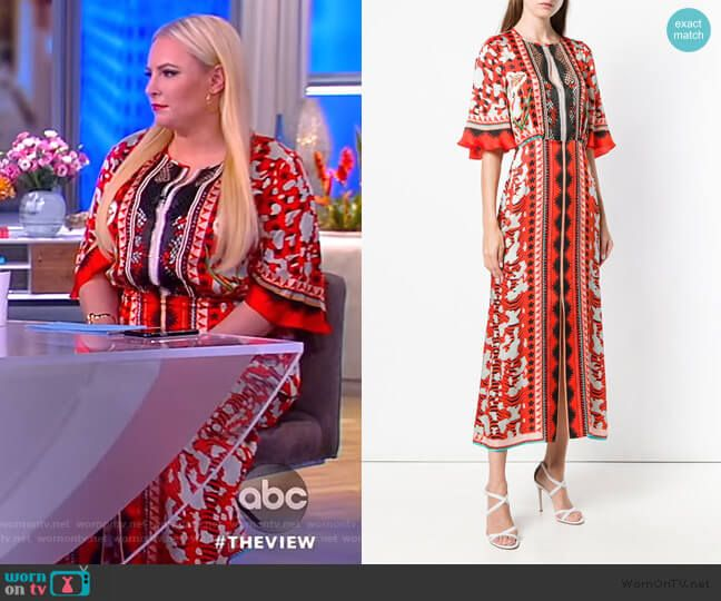 Meghan s red abstract print long sleeve maxi dress on The View. Outfit  Details  https 6fb82653d