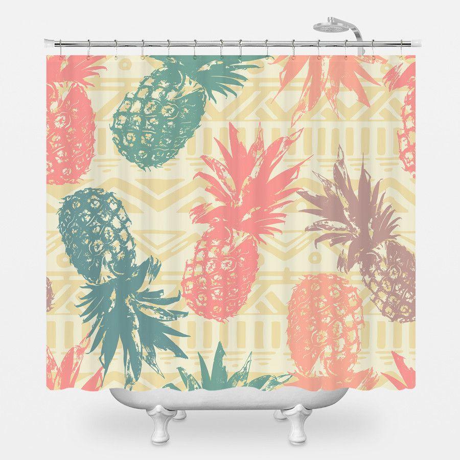 Pineapple On Tribal Shower Curtain
