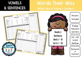 Words Their Way Within Word Pattern Vowels Sentences Sorts 1 50 V2 Word Patterns Words Word Sorts