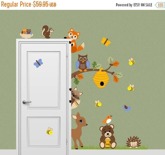 SALE Forest Friends Animal Decal Honey Bear Fox Deer Bee
