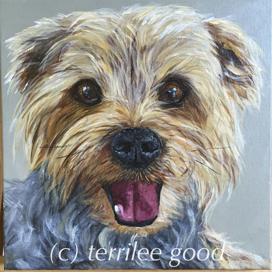 """""""Lucy"""" acrylic on 10x10 stretched canvas."""