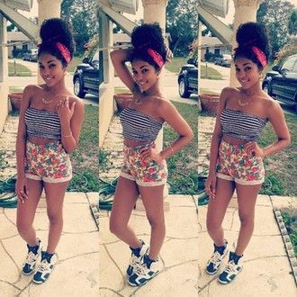 shoes found on tumblr air jordan cute top curly hair jordans crop tops  shorts flowered shorts