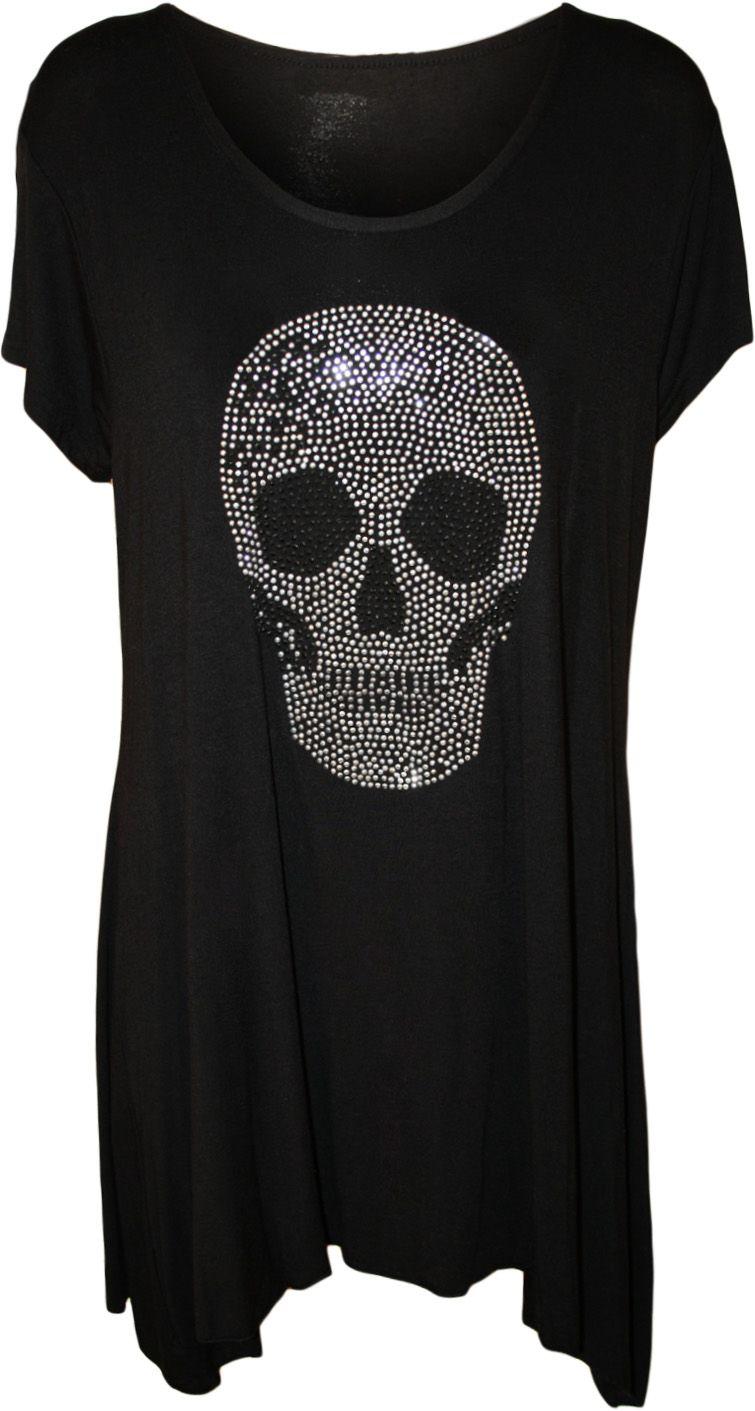 2ff9c482b27 Womens Plus Size Skull Stud Hanky Hem Bead Long Top Ladies Short ...