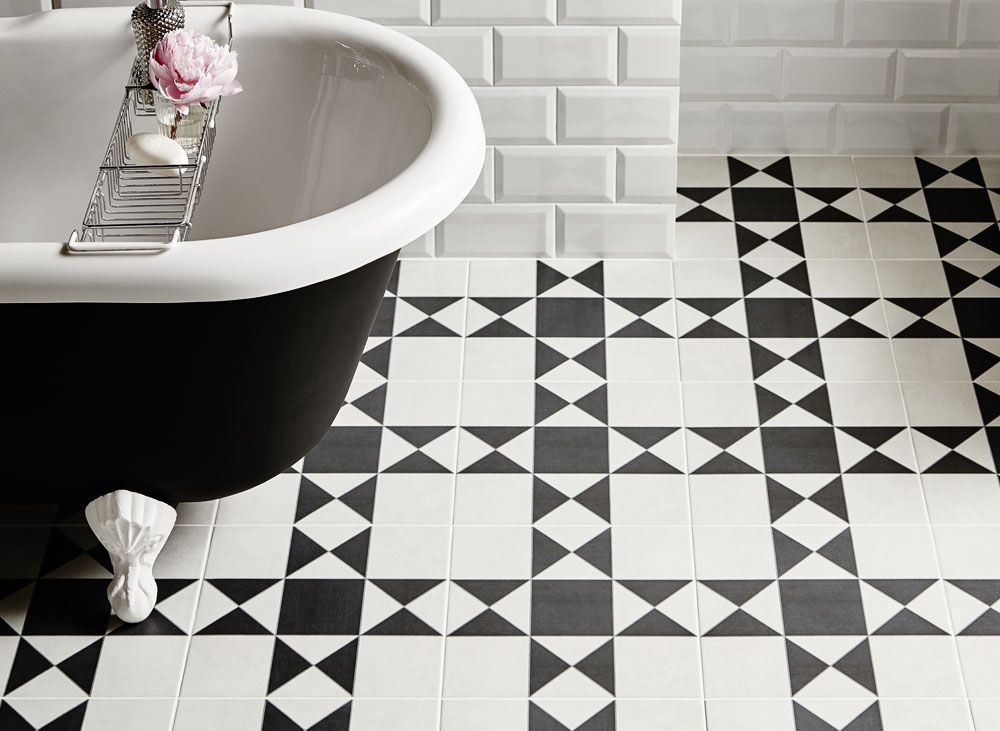 Exeter Black and White Victorian Floor Tile   new bathrooms ...