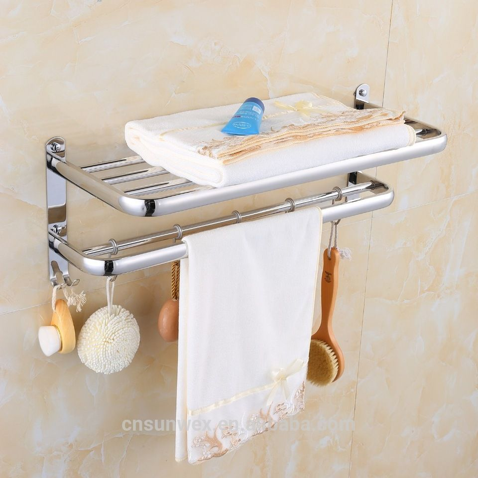 Stainless Steel Bathroom Towel Rack Towel Shelf with Hooks Hotel