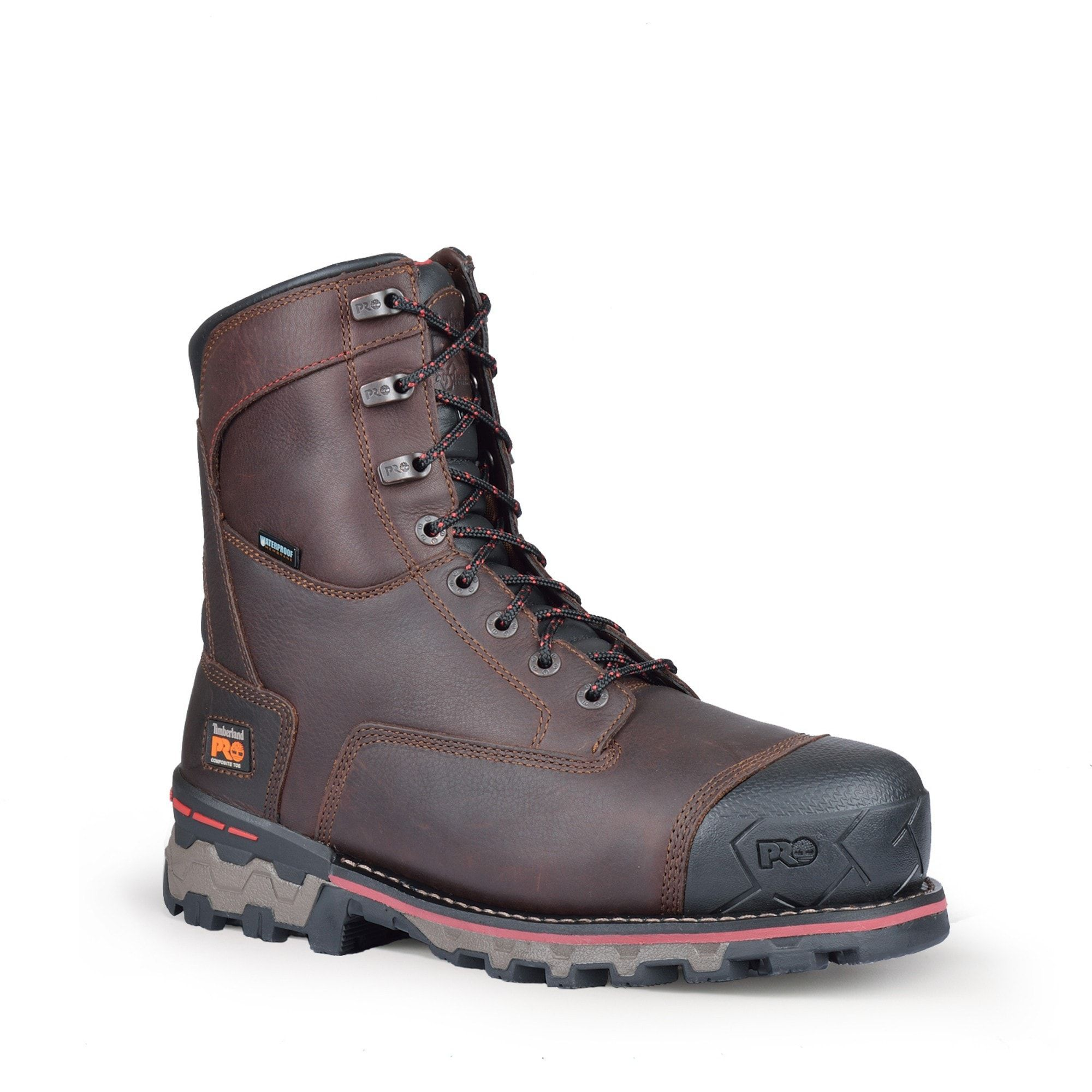 b5ba487ff3c Timberland Pro 8in Boondock CT WP 1000 Mens Brown Leather Work Boots ...