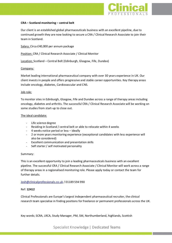 Clinical Research Associate (CRA) - Scotland | cra