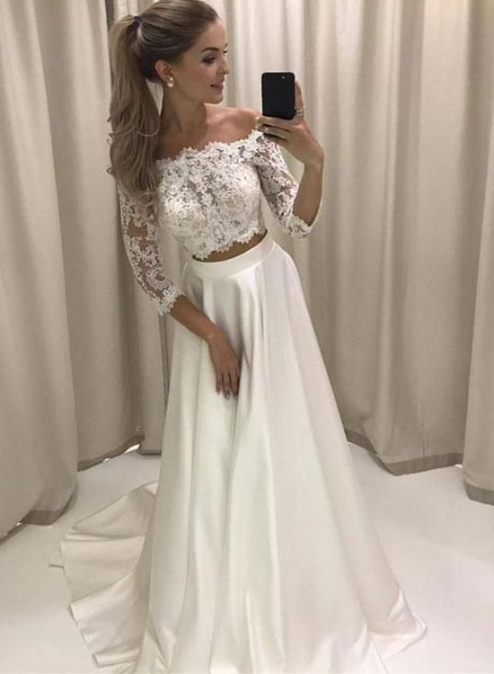 Stylish White Lace Two Pieces Long Prom Dress, | prom dresses ...