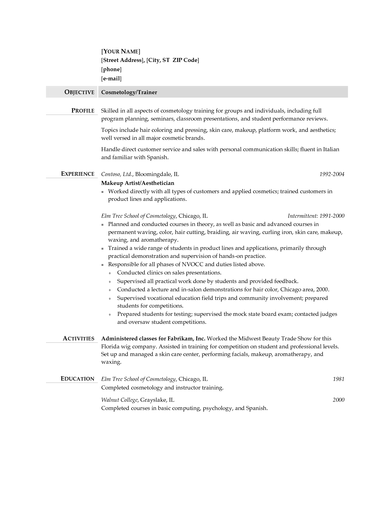 Cosmetology Instructor Resume Sample http//www